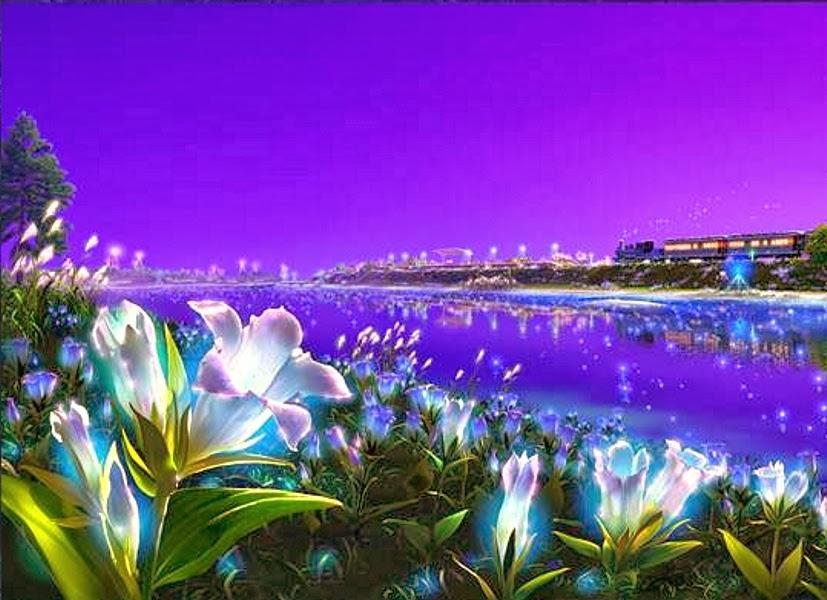 Kagaya Yutaka • Fondo de Pantalla • Flores, tren, reflejo