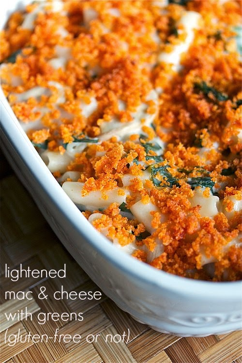 light mac and cheese with collard greens -- gluten-free or not