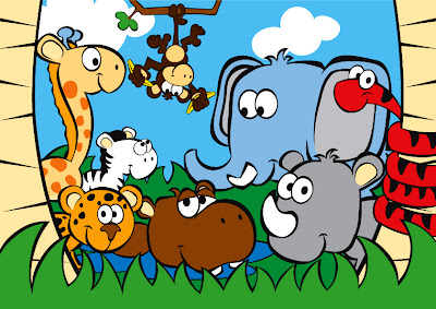 Cartoon Jungle Scene Cute jungle scene print