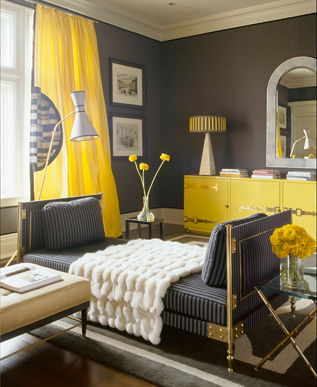 Ideas how to create a nice design for your home using grey for Bright yellow bedroom ideas