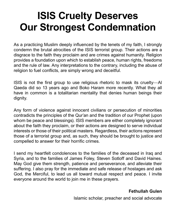 Fethullah Gulen statement on ISIL
