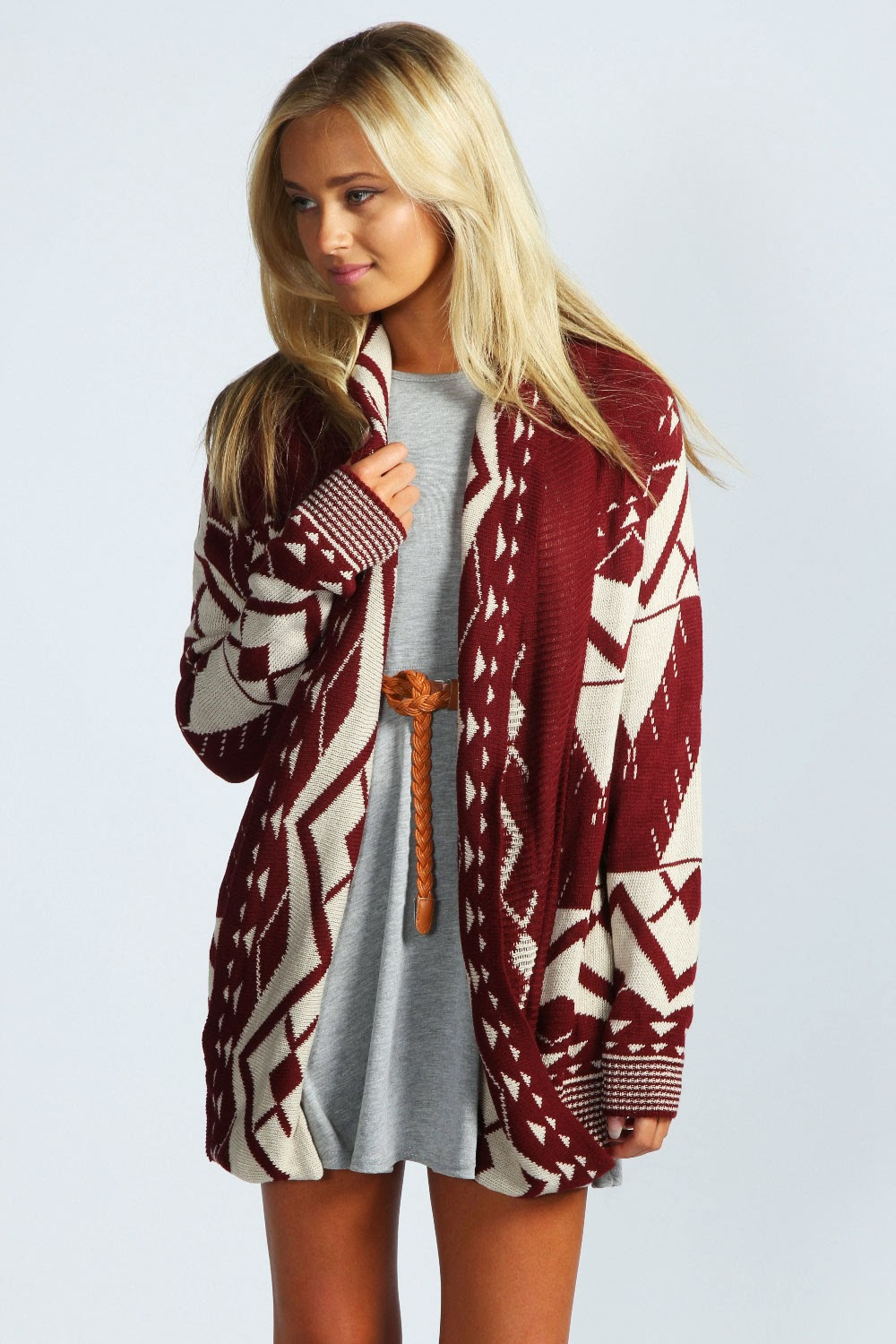 Open Front Aztec Cardigan: Cozy, comfy sweater with stunning Aztec pattern on the front and back, ribbed long sleeves and undeniable good looks. Acrylic Hand wash.