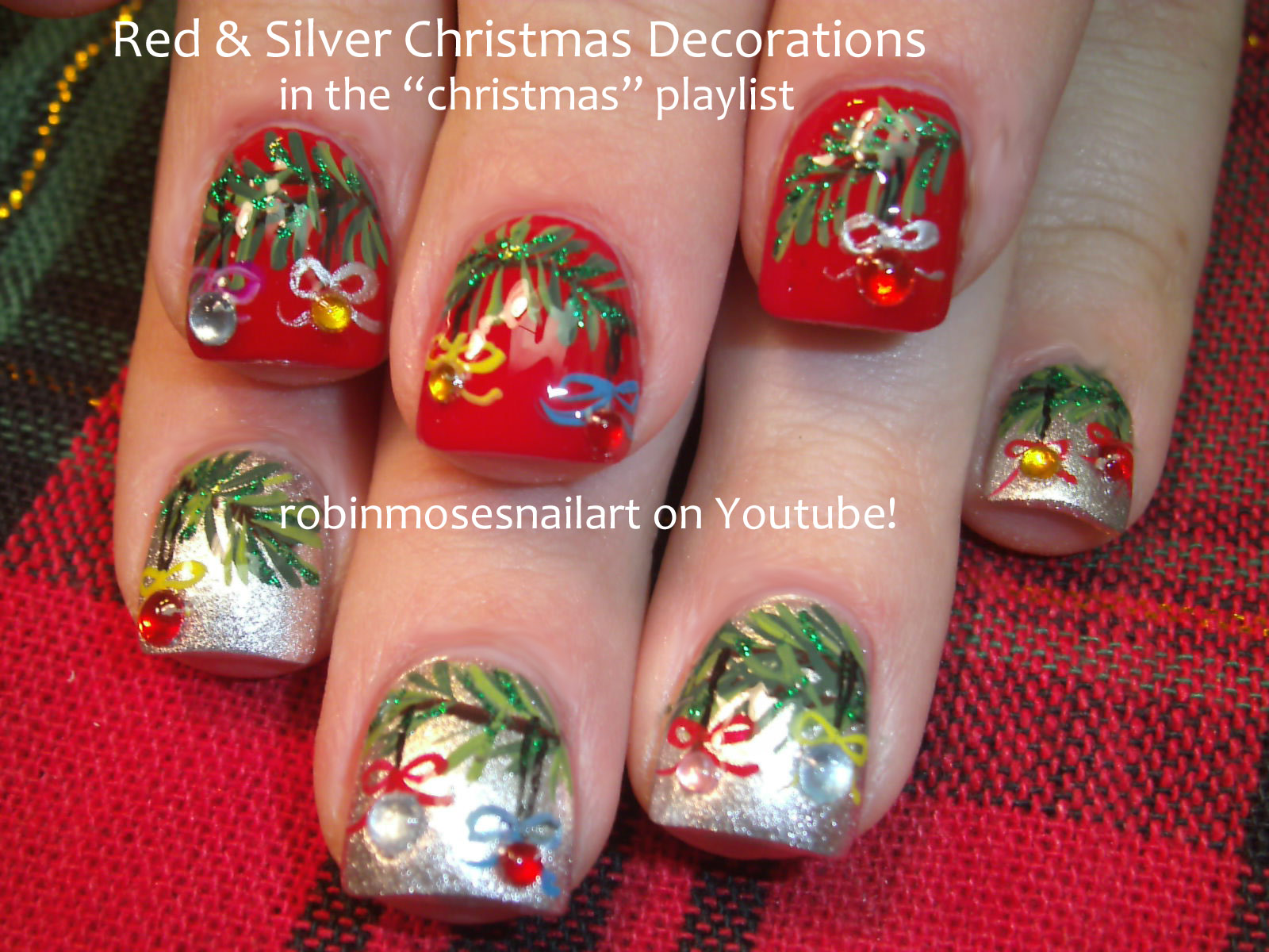 Red And Silver Christmas Nail Designs