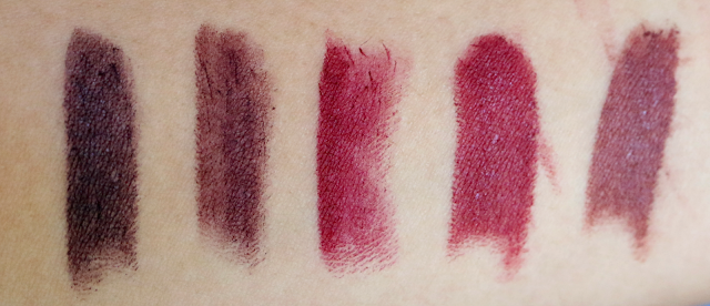 beauty, lipstick, makeup, autumn, winter, dark, colours, favourites, fall, MAC, Wet n Wild, Makeup Revolution, Black Heart, Smoked Purple, Diva, Mochalicious, Cinnamon Spice, review, swatch