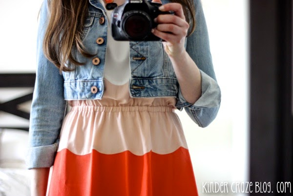 denim and a scalloped dress...love this outfit