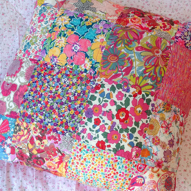 Bright Colourful Patchwork Cushion made using Liberty Art Fabrics
