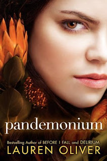 Book cover for Pandemonium by Lauren Oliver, second in the Delirium series, published by HarperTeen