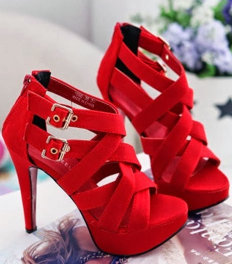 Gorgeous red high heel sandals fashion