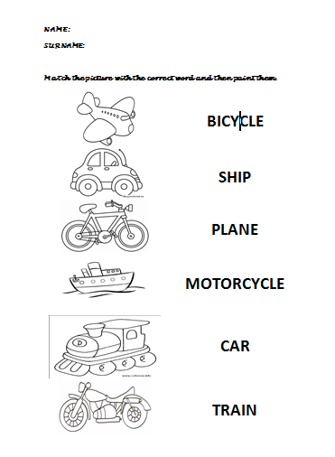 English at preschool education: MEANS OF TRANSPORT