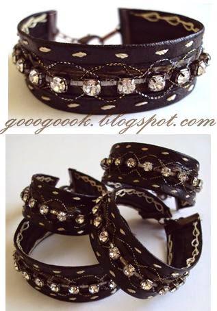 Bracelet,  black leather bracelet