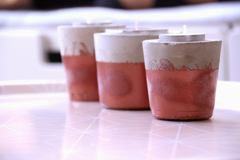 Kerzenhalter aus Zement diy mit Kupfer