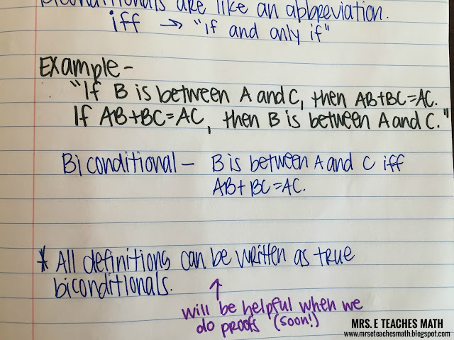 Mrs. E Teaches Math:  Biconditional Statements Interactive Notebook Page for Geometry (Logic)