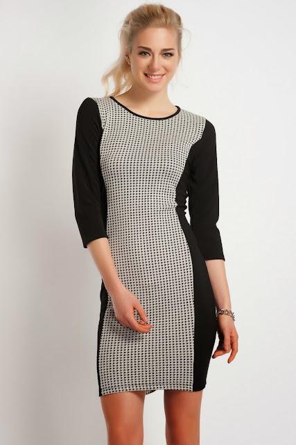 blok renk dar kesim kısa elbise , siyah gümüş, koton 2014