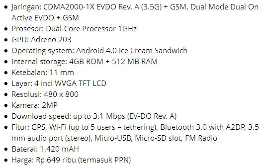 Smarfren Andromax C, Dual Core 600 ribuan Android ICS