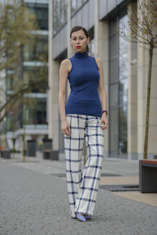 szerokie spodnie w kratkę Zara fashionblog