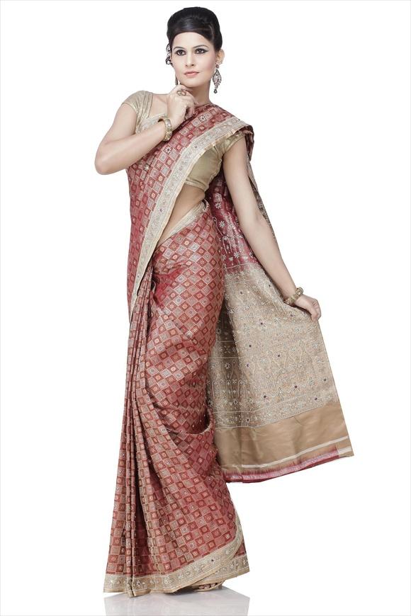 Rosewood Art Kattan Silk Banarasi Saree