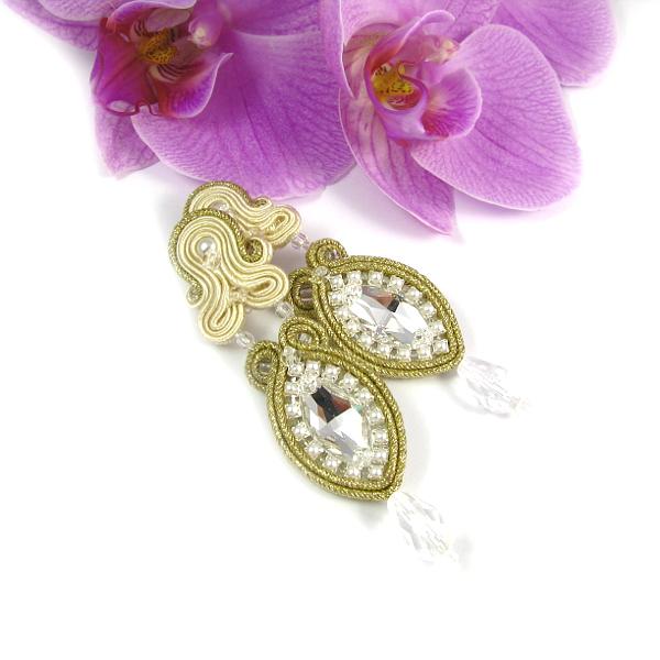 Kolczyki do ślubu perły ecru