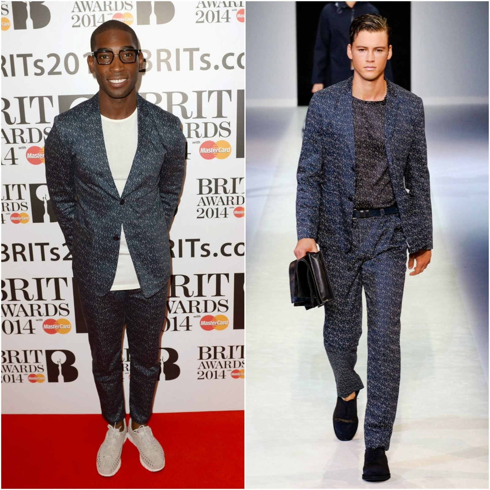Tinie Tempah in Emporio Armani - 2014 BRIT Awards Nominations