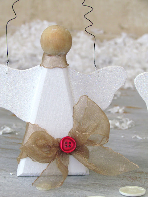 Snow Angel Ornament with May Arts Ribbon