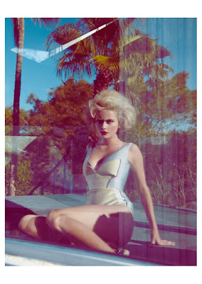 woman in 50's retro bathing suit, fashion shoot in palm springs