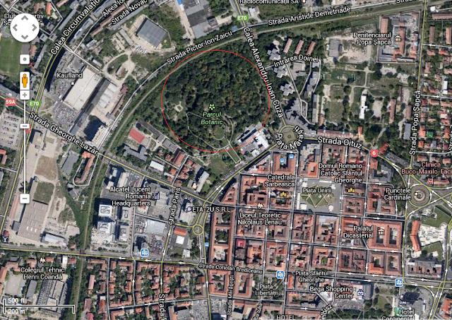 parcul botanic timisoara vedere din satelit