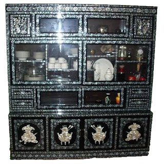 Fabulous Antique Inlaid Mother Of Pearl Black Lacquer China Cabinet.