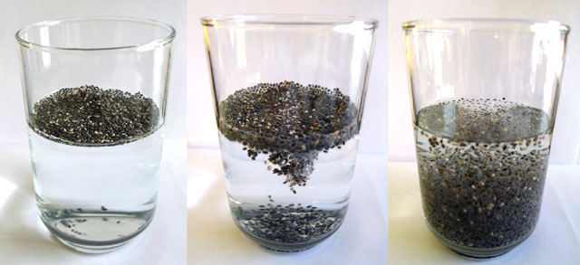 semillas de chia en agua