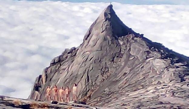 aksi bogel pendaki di gunung kinabalu