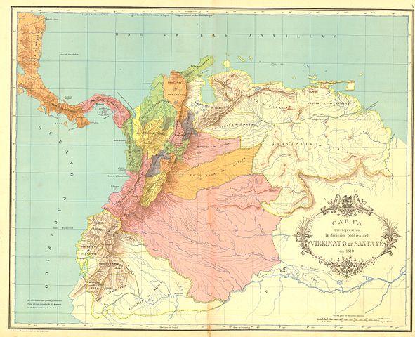 Mapa Virreinato de Nueva Granada en 1810 con capital en Santafé y de la que nacería la actual Colombia