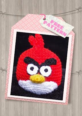 free red angry bird amigurumi crochet pattern