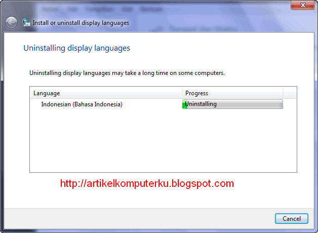 Uninstall Windows 7 Language Interface Pack Bahasa Indonesia