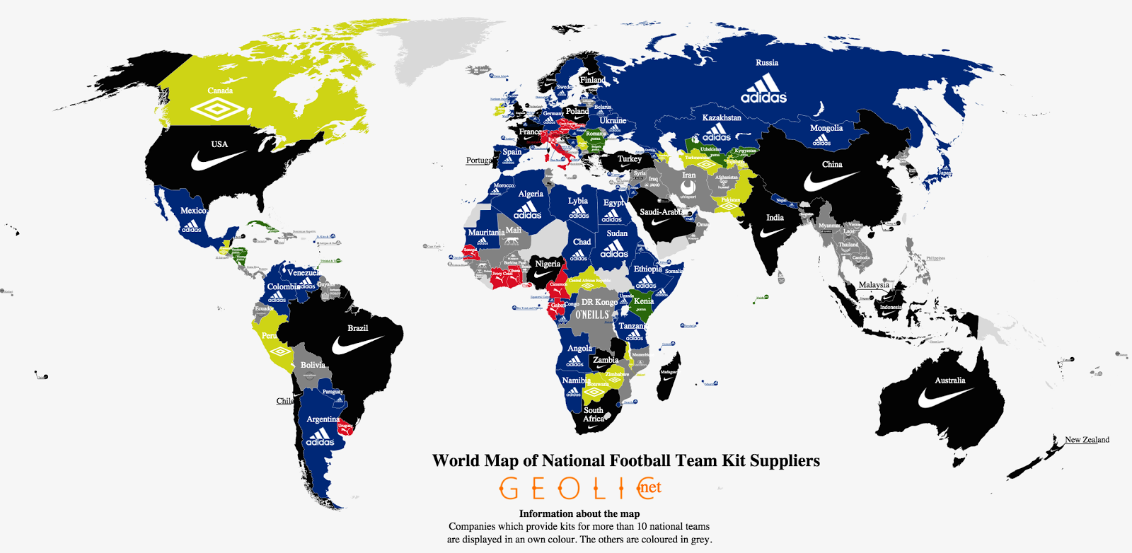 football s national team kit suppliers how they spread across