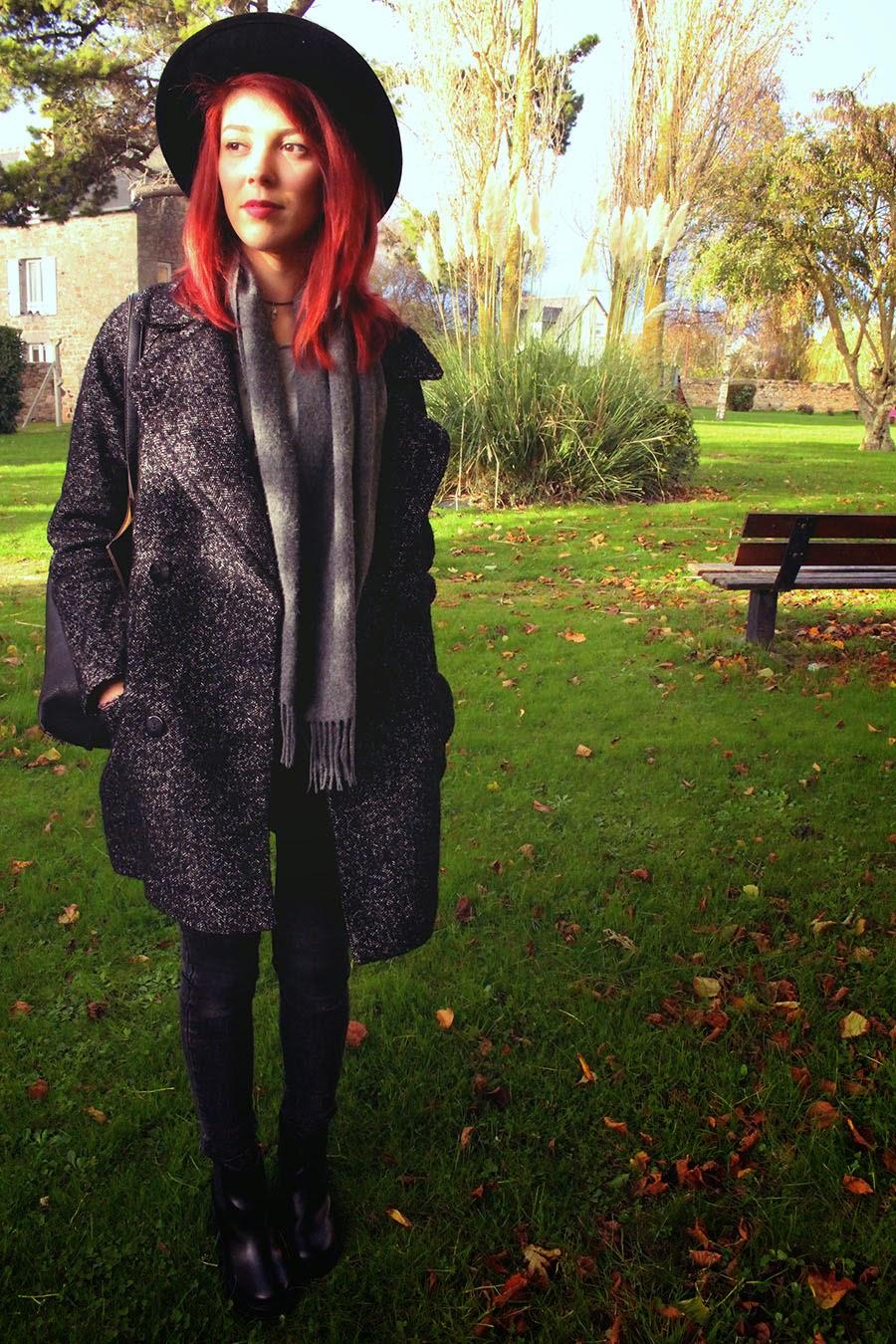 asos, automne, autumnal outfit, bag, boots, bottines, chelsea, ello ello, fall, fedora chapeau, hat, haul, hm, justfab, manteau oversize hm 2014, ootd, riverisland,