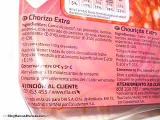 Ingredientes del chorizo extra en lonchas DIA