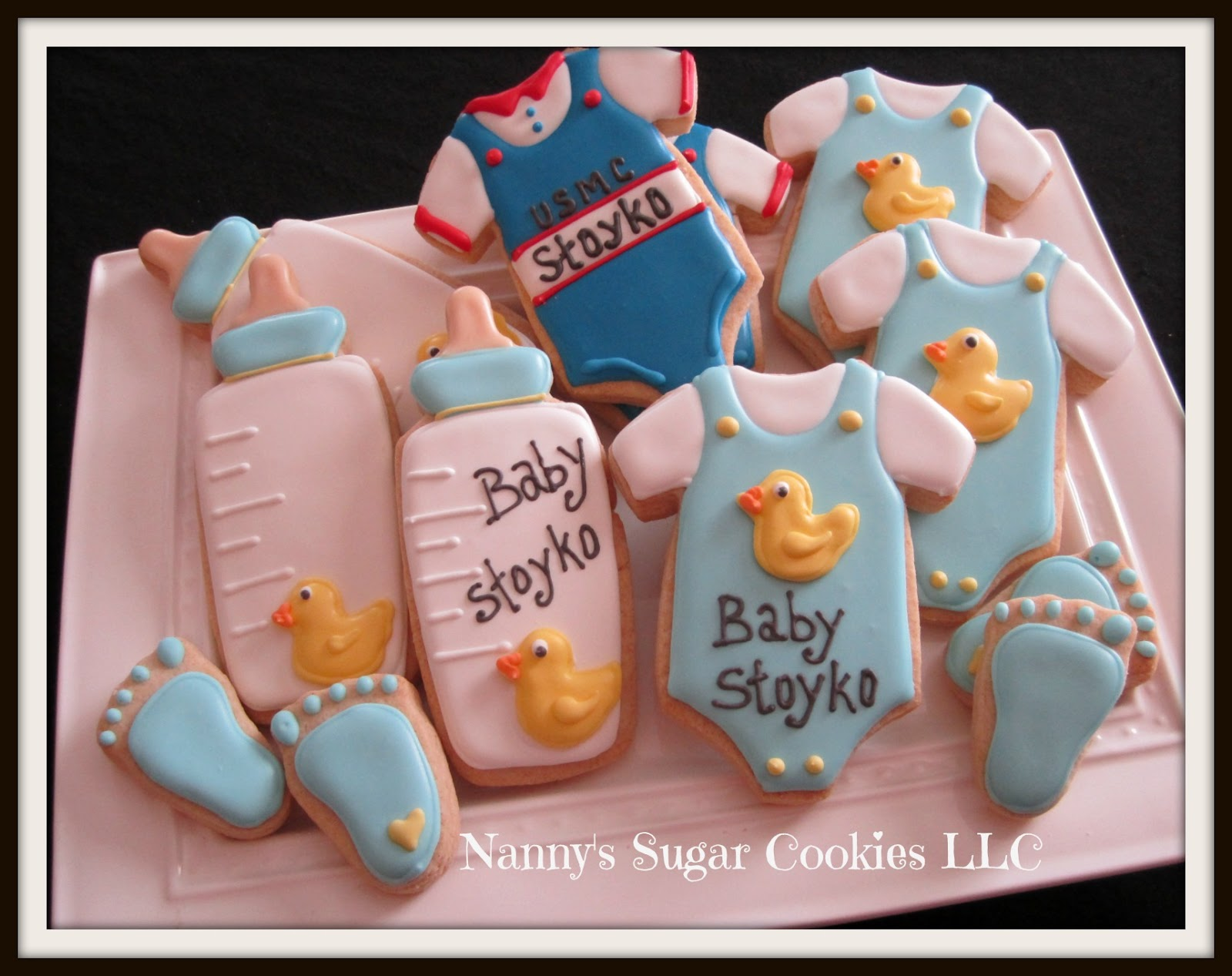assorted baby boy cookie favors
