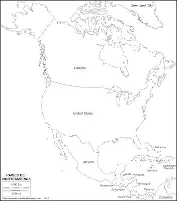 Mapa mudo de America del Norte. Paises de Norteamerica