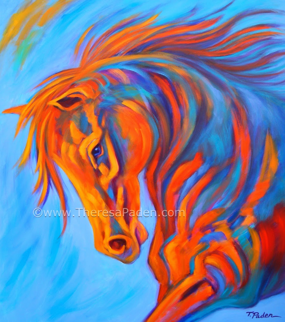 Paintings of Horses: Abstract Horse Painting in Bright ...