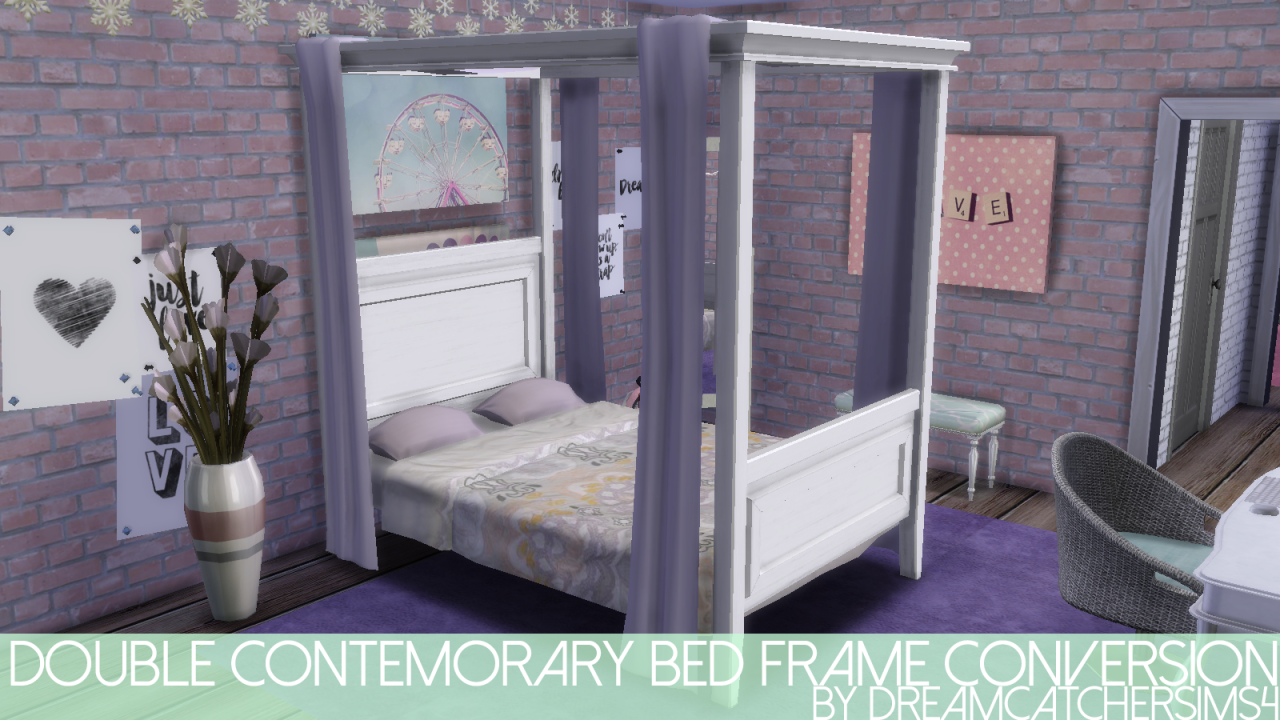 My Sims 4 Blog Double Contemporary Bed Frame Conversion