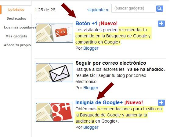 Nuevos gadgets Google+ para Blogger