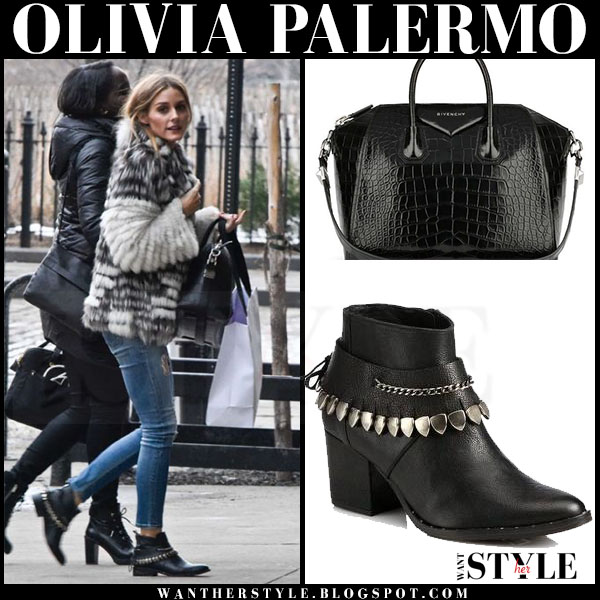 Olivia Palermo in grey shaggy fur coat and black ankle freda salvador comet boots what she wore streetstyle