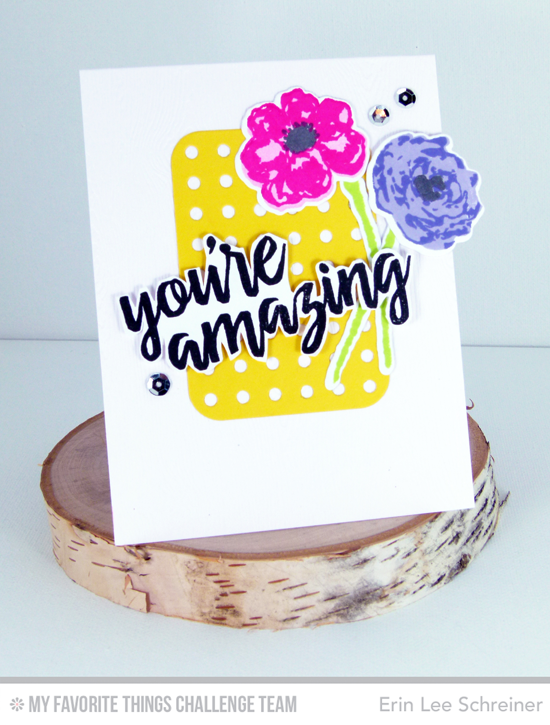 You're Amazing Card by Erin Lee Schreiner featuring the Written in Watercolor and Watercolor Flowers stamp sets #mftstamps
