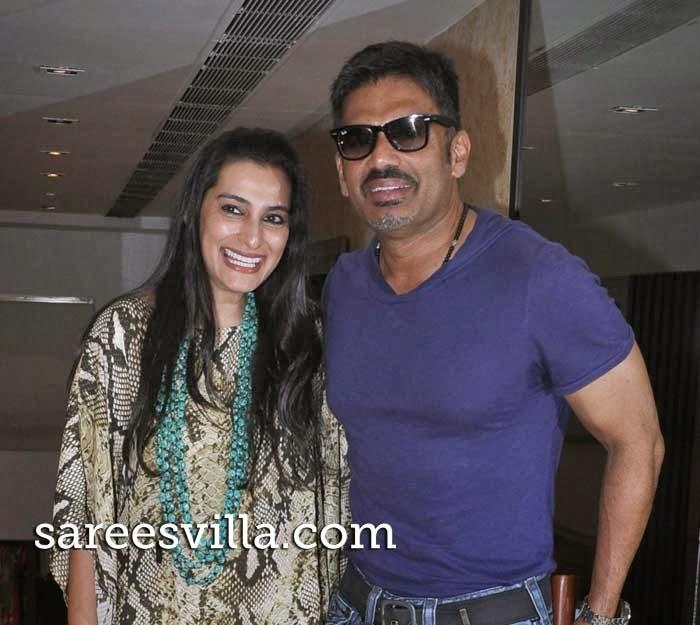 Sunil Shetty along with his wife Mana Shetty