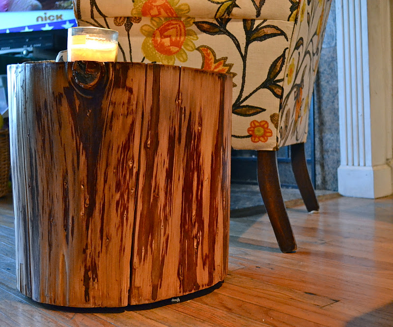 restyle restore rejoice diy tree stump side table. Black Bedroom Furniture Sets. Home Design Ideas