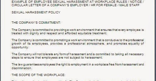 Every bit of life sexual harassment policy sample template for Sexual harassment letter template
