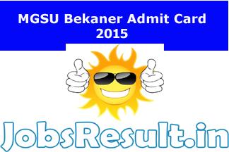 MGSU Bikaner Admit Card 2015