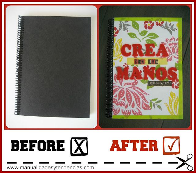 Scrapbooking Personalizar una libreta o cuaderno/ Customize a notebook /Customise un cahier