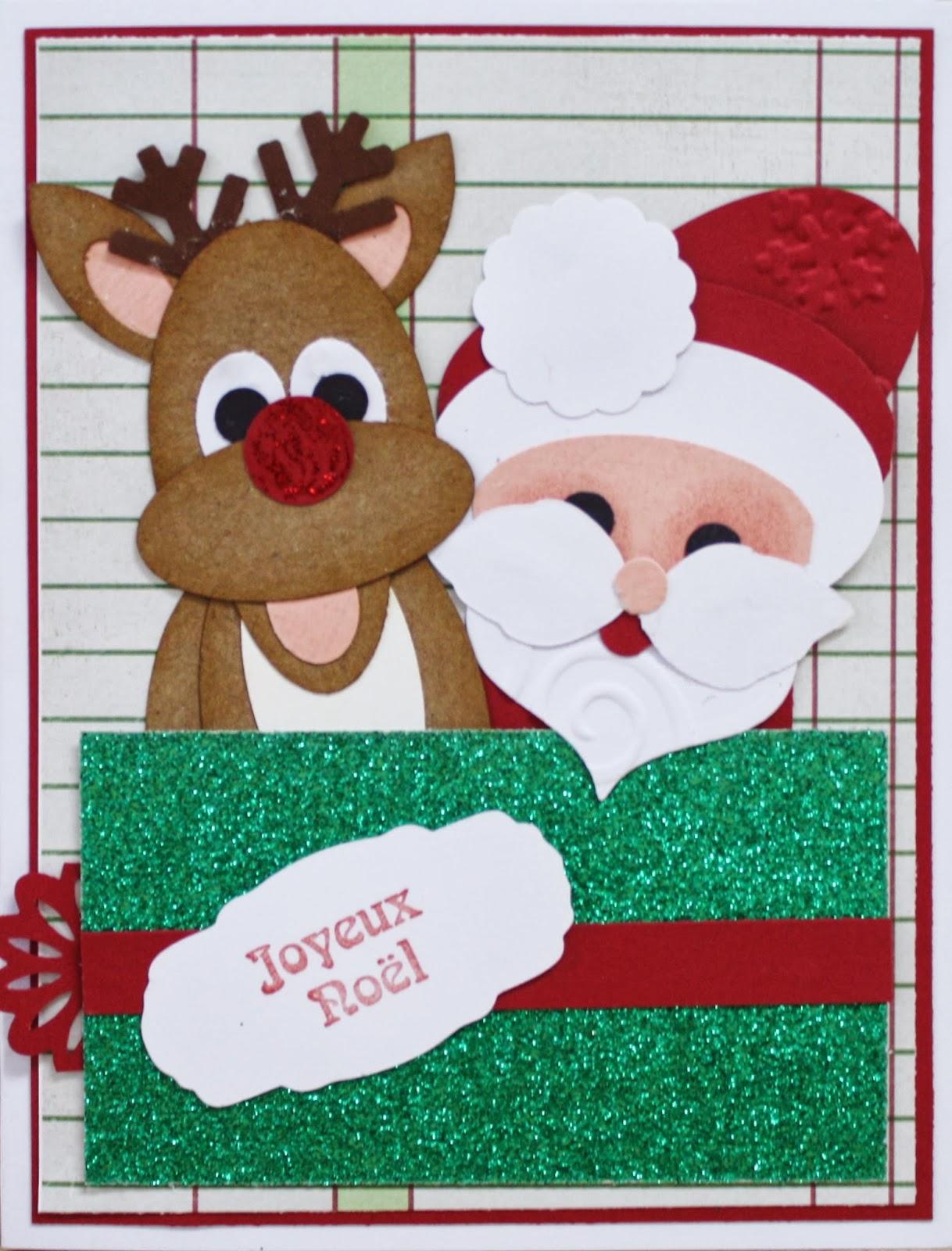 Johanne afabrik carte punch art card renne et p re no l rudolph and santa - Reine du pere noel ...