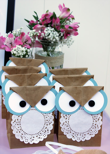 owl goodie bags, owl birthday party,