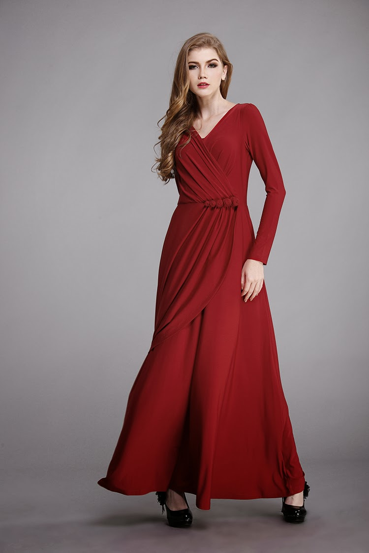 SALES! Red Long-sleeved Flower-decorated Hip Long Dress