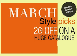[Last Day] Myntra March Style Pick: Flat 20% OFF on Select Styles for Cart Value of Rs.999 (Offer Valid till 18th March'13)